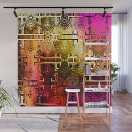 1001 Lights Pattern (gold-magenta-vermillion) Wall Mural