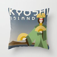 travel poster Throw Pillows featuring Kyoshi Island Travel Poster by HenryConradTaylor