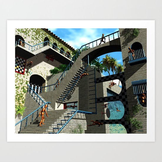Optical Illusion - Tribute to Escher Art Print