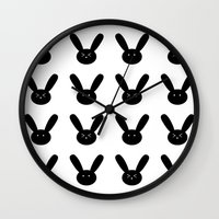 rabbits Wall Clocks featuring rabbits by Ashley ashley