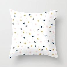 Modern pastel pink navy blue gold glitter confetti Throw Pillow