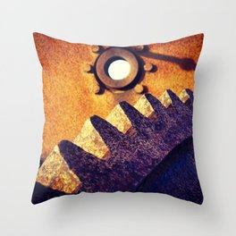 disused industrial machinery on the coast, rusty and abandoned Throw Pillow