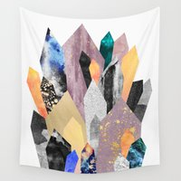 minerals Wall Tapestries featuring Crystals by Elisabeth Fredriksson