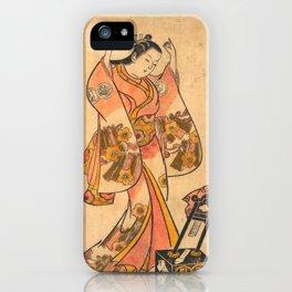 Sanjō Kantarō as a Woman Arranging Her Hair Before a Lacquer Mirror iPhone Case