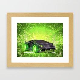 Tronic Green Sports Car Framed Art Print