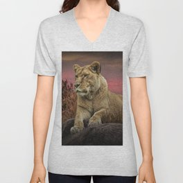 African Female Lion in the Grass at Sunset Unisex V-Neck