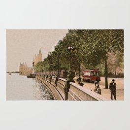 Vintage The Embankment, River Thames, London Rug