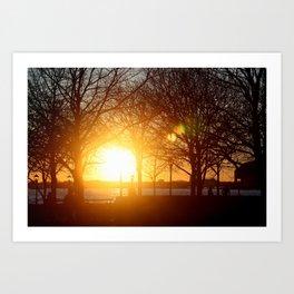 Sunset on the Hudson River Art Print