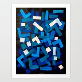"""Original Abstract Acrylic Painting by Ejaaz Haniff """"Blue Jazz"""" Blue Geometric Colorful Pattern On Bl Art Print"""
