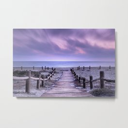 """To the beach...."" Purple sunset Metal Print"