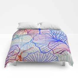 Ginkgo Leaves in Retro Rainbow Comforters