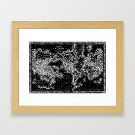 Black and White World Map (1864) Inverse Framed Art Print