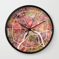 moscow Wall Clocks featuring Moscow Map by MapMapMaps.Watercolors