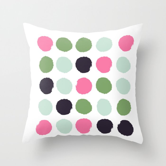 Painted Dots Minimal Colorful Pattern Polka Nursery Baby Decor Throw Pillow By Charlottewinter
