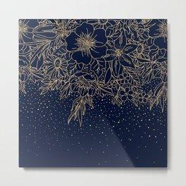 Cute Gold Floral Doodles & confetti Blue Design Metal Print