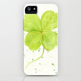 Watercolor 4 leaf Clover iPhone Case