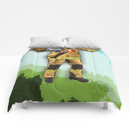 My son wishes to be a firefighter-1 Comforters
