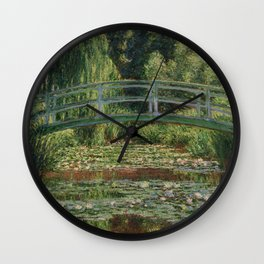 The Japanese Footbridge and the Water Lily Pool Wall Clock