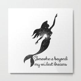 The Little Mermaid Cosmic Black and White Wildest Dreams Metal Print