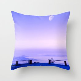 Above The Clouds, Under The Moon Throw Pillow