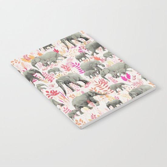 Sweet Elephants in Pink, Orange and Cream Notebook
