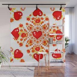 Red Heart Geometric Art Garden White Pattern Wall Mural