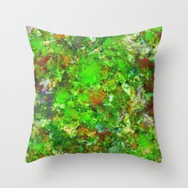 Slippery green rocks Throw Pillow