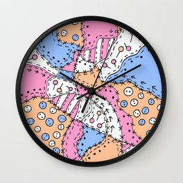 Doodle Art Buttons and Pins - Pink Blue Orange Wall Clock
