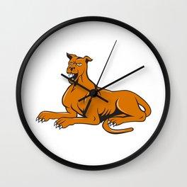Mastiff Dog Mongrel Barking Sitting Cartoon Wall Clock