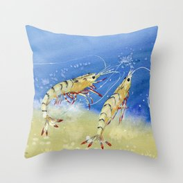 Swimming Together - Shrimp Throw Pillow
