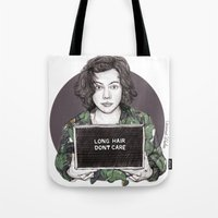 coconutwishes Tote Bags featuring Long Hair Don't Care by Coconut Wishes