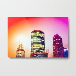 Red Misty Urban Night Metal Print