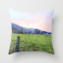 Dawn at Grasmere Farm with Sheep Grazing, Lake District, Cumbria, England. Watercolour Painting Throw Pillow