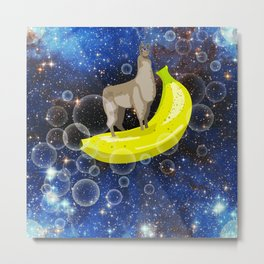Banana Llama (In Space) Metal Print