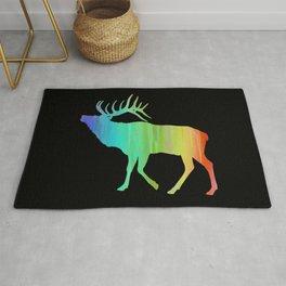Rainbow Watercolor Dripping Elk II Rug
