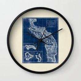 Vintage Blueprint of PNW Wall Clock