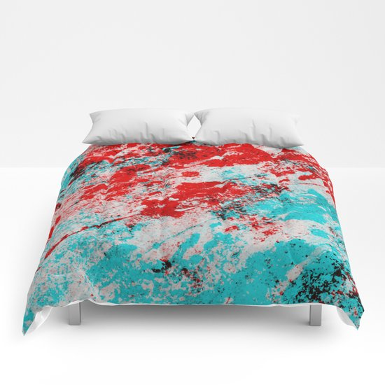 Red Fury - Abstract In Blue And Red Comforters