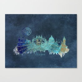 Prague skyline blue Canvas Print
