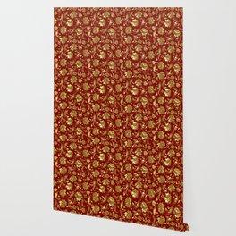 Dark Red & Gold Floral Damasks Pattern Wallpaper