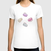 macaron T-shirts featuring Macaron Pattern - raspberry, pistachio, lemon & blackberry by Perrin Le Feuvre