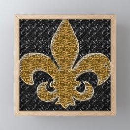 Black and Gold Fleur De Lis Framed Mini Art Print