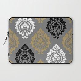 Decorative Damask Pattern BW Gray Ochre Laptop Sleeve