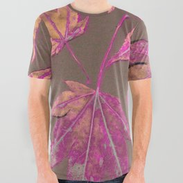 Japanese maple leaves - neon pink on khaki All Over Graphic Tee