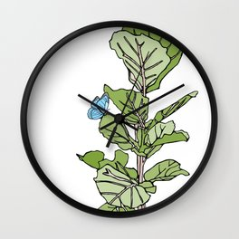 Lined Fig Tree and Blue Butterfly Wall Clock