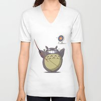 archer V-neck T-shirts featuring Totoro Archer by Gianluca Armeni