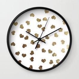 Glamorous Faux Gold Hearts Pattern Wall Clock