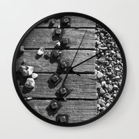 boardwalk empire Wall Clocks featuring Boardwalk by Elise Price