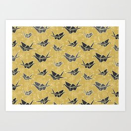Black and Gold Japanese Origami Cranes Art Print