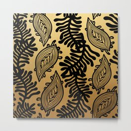 Black and Gold Leafy Vines Metal Print