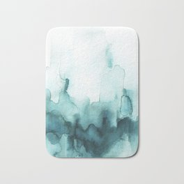 Soft teal abstract watercolor Bath Mat